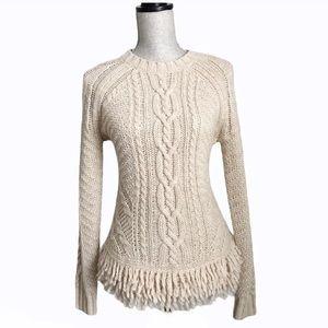 Banana Republic Cream Cable Knit Fringe Sweater